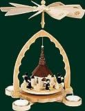 Weihnachtspyramide Erzgebirge Richard Glässer Seiffen Seiffener Kirche mit Kurrende 1-stöckig für Teelichte Natur, 16099