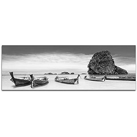 Lienzo Foto como Panorama Negro/Blanco 120X 40cm Tailandia Roca playa mar barcos