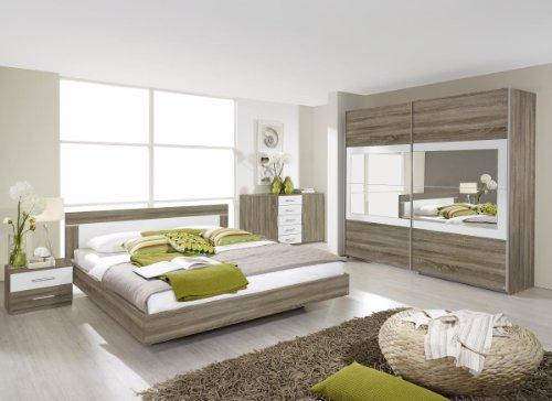 Rauch Schlafzimmer Komplett Set mit Bett 180×200, Schrank mit Spiegel und Nachttischen, Eiche Havanna, Absetzungen Weiß Alpin