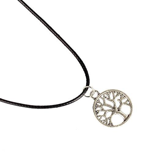 Amonfineshop New Tree of Life-Charme-Anhänger-Halsschmuck mit schwarzer Schnur Halskette - 3