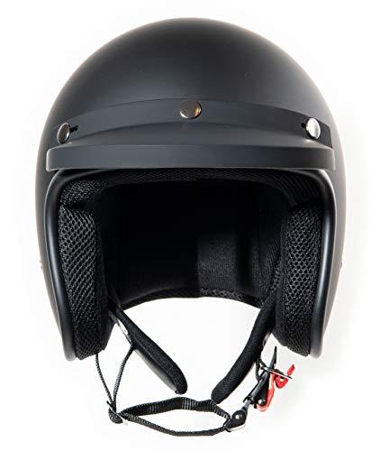 HauptSache Fräulein Irmi Original Roller-Helm, Damen, Herren, Retro, Vespa-Helm, Klassisch, Offener-Helm, Jet-Helm, ECE, Vintage schwarz-matt, weiss-matt (M, schwarz-matt) (Vespa Vintage Helm)