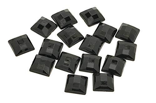 50 x quadratische Form, EIMASS® Acryl-Strasssteine Verzierungen DIY Basteln, jet black, 14 mm