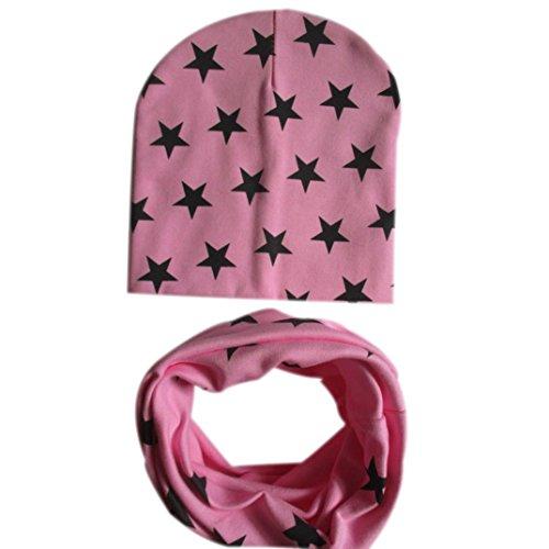 Babybekleidung Schals Longra Baby Mütze Schal jungen Mädchen Kleinkinder Schal Kind Schal Hüte Mützen (Pink) (Ansatz Handschuh Schwarz)