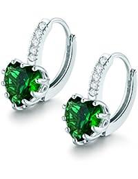 MASOP Gold Tone 9mm Birthstone Earrings Heart Cubic Zirconia Leverback Huggie Hoop Earrings sCob5TP