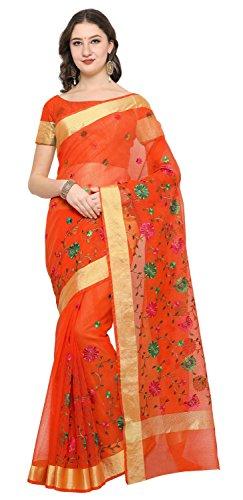 Rajnandini Orange Cotton Embroidered Traditional Saree
