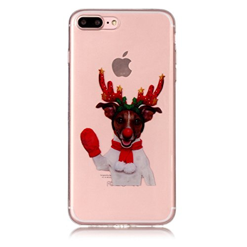 Noël Coque iPhone 7 Plus / iPhone 8 Plus LifeePro Ultra Mince Transparent Doux TPU Gel Silicone Antichoc Anti-rayures Full Body Étui Housse de Protection Christmas Cover pour iPhone 7 Plus / iPhone 8  Red Gloves Elk