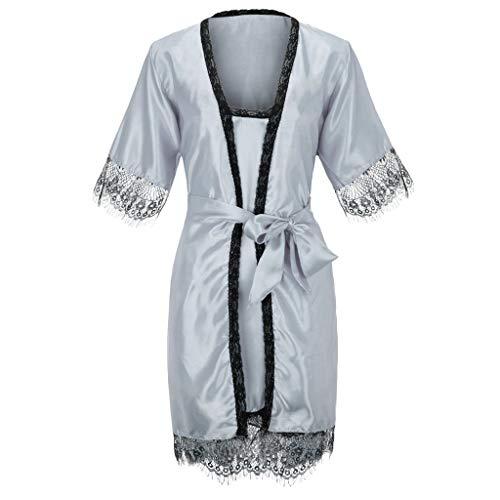 ABsoar Damen 2PC Sommer Schlafanzug Bademantel Seidenimitat Bequemer Pyjama Set Spitze Nachtwäsche Frauen Babydoll Dessous Nachthemd Robe Morgenmantel Nachtwäsche Set