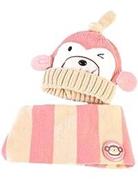 Tpulling Bonnet Bebe, Bébé garçons Filles Dessin animé Chapeau Singe + écharpe  2pcs Enfant tricotant Chapeaux… 1ff5a41a477