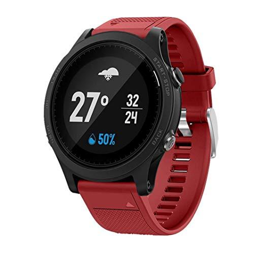 MuSheng Watch Band, Freizeit Kleiner Leicht Bequemer Weicher Schnellverschluss Kit Ersatz Silikagel Sport Band für Garmin Forerunner 935 GPS Watch (Rot)