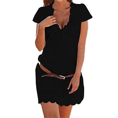 Pacyer® Donna Cowboy Casuale Vestito Estivo allentati casuali maniche corte di sera del partito bicchierino della spiaggia Vestitino, senza cinghia (S, Nero)