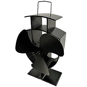 Lincsfire Stove Fan 3 Blade Heat Powered for Fireplace, Wood/Log Burner - Black - Eco Friendly