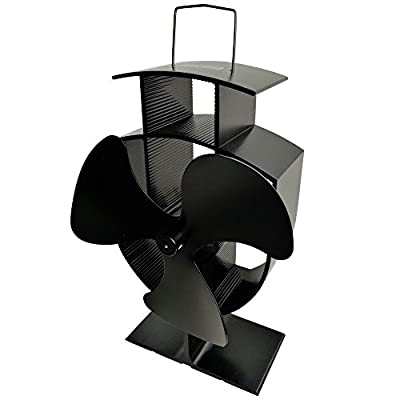 Lincsfire Stove Fan 3 Blade Heat Powered for Fireplace, Wood/Log Burner - Black - Eco Friendly