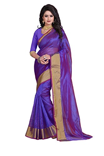 Reeva Trendz By Kupinda Women's Art Silk Saree Kanjivaram Style (Latest Designer Sarees /Party wear sarees /New collection sarees Color : purple  available at amazon for Rs.350