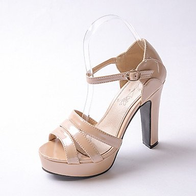 zhENfu Scarpe da donna in pelle di brevetto Chunky Heel Peep toe / Piattaforma sandali Wedding / Festa & SERA/ argento / Mandorla Almond