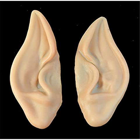 Interesting®1 Par de hadas de Pixie Elf Ears Accesorios Cosplay del partido de Halloween máscara suave apuntado prótesis de orejas
