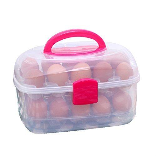 Große Kapazität Doppellagen Eier Box Vorratdosen mit dem Griff für 30 Eier für Packnick und Kühlschrank