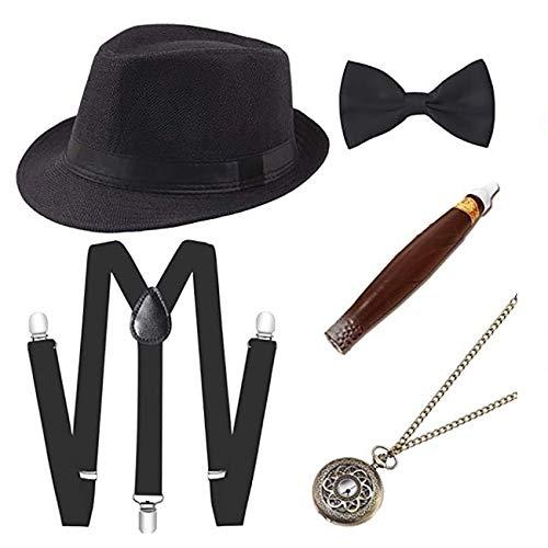 ShiyiUP 1920er Jahre Herren Zubehör Set Hosenträger Kappe Krawatte Halskette Zigarette 5 Stück