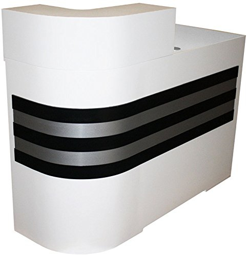 FIGARO kombinierbare Rezeptionstheke, Rundung links, Schleiflack weiss, Streifen schwarz-silber
