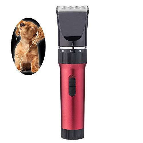 WYYZSS Kit Tosatrice Professionale per Cani Tagliacapelli Animali Gatto Ricaricabile Tosatore Elettrico 4 Pettine Testina Regolabile,5 Distanze di Taglio,Rosso