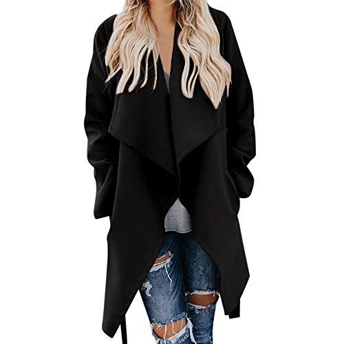 i-uend 2019 Damen Mantel -Cardigan Lang Mantel Jacke mit Revers Kragen Trenchcoat Lose Outwear Strickmantel Kimono Sweaters Damen Große Größe übergangsjacke Outwear