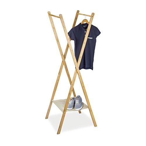 Relaxdays Kleiderständer aus Bambus HBT: 155,5 x 50 x 57,5 cm Garderobenständer mit praktischer Schuhablage platzsparend klappbar als Wäscheständer und Garderobe mit 2 Kleiderstangen aus Holz, natur