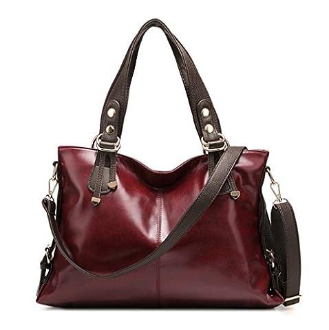 TianHengYi , Damen Tasche , Rot - Burgunderrot - Größe: Large