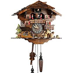 Schwarzwälder Kuckucksuhr aus Echtholz mit batteriebetriebenem Quartzwerk mit Kuckuckruf und Musikspielwerk - Angebot von Uhren-Park Eble - Engstler -Holzhacker 30cm- 4901 QMT