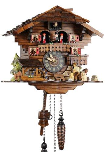 Selva NEGRA uhrenfabrik kammerer reloj de madera con mecanismo de pilas con cuco y música mecanismo musical - oferta de relojes-Park Eble - Engstler - leñador 30 cm - 4901 QMT
