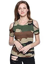 The Dry State Woman's Camouflage Cold Shoulder Cotton T-Shirt G181-P