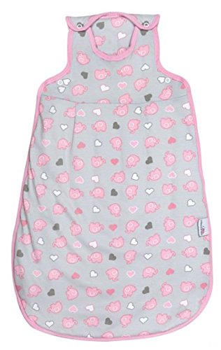 Schlummersack Baby Sommerschlafsack Mädchen 1.0 Tog 70cm/ 0-6 Monate - Elefanten Pink/Grau
