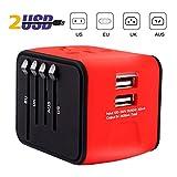 iVoler [Garantie à Vie] Adaptateur de Voyage avec 2 USB Adaptateur Universel Pris de Courant pour UE/US/UK/AUS Utilisé dans Plus de 150 Pays Adaptateur Chargeur - Rouge