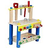 Werkbank Werkzeugkiste Werkbank-Center Kinderwerkbank Kinderwerkzeug ab 2 Jahren, Spielwerkbank Spielzeug Freude kreative Werkzeugtisch