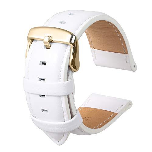 Bracelet De Montre Hommes Et Femmes La Mode Remplacement en Cuir De Veau Authentique Adapté pour Montre Traditionnelle Accessoires Blanc20MM