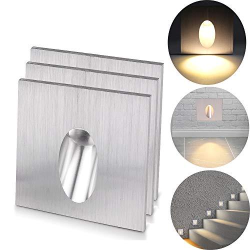 ALLOMN LED Wandeinbauleuchte, Wandlampen Schritt Licht Quadratisch Einbauleuchte LED Stufen Treppe Veranda Weg Licht 1W Kellerlampe AC 100-245V (Warmweiß, 3 PCS) - 1w Led-licht