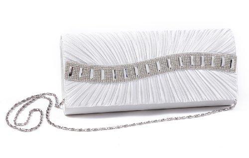 Damara Edle Satin Clutch Damen Handtasche,Weiß Gold