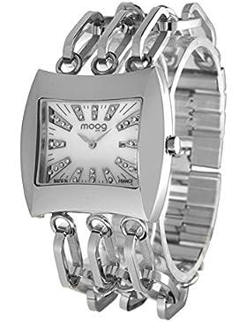 Moog Paris Sunrise Damen Uhr mit Weiß Zifferblatt, Swarovski Elements & Silber Armband aus Edelstahl - M45214-001