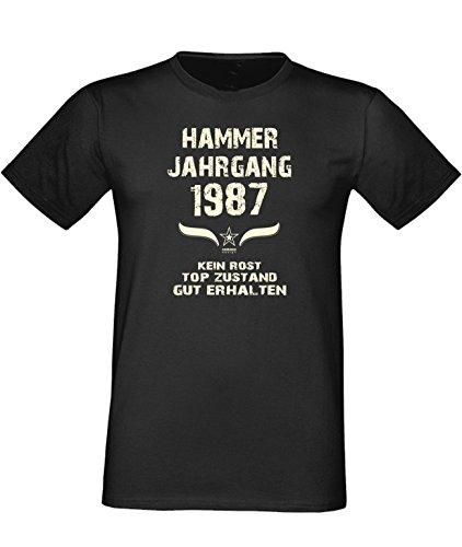Mega trendiges humorvolles Happy-Birthday-Fun-t-shirt Geschenk mit Sprüche-Motiv: zum 29. Geburtstag Hammer Jahrgang 1987 Farbe: schwarz Schwarz