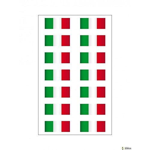 StickersLab - 14 Adesivi bandiera Italiana in vinile ultra resistente per moto vespa auto fiat 500 casco 3,5cm x 1cm