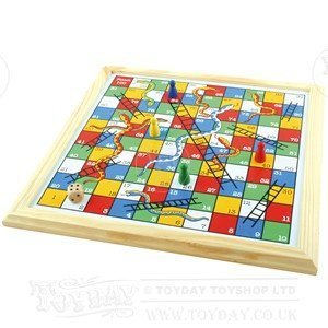 Wooden Snakes and Ladders Game by Gamez Galore - Ladders Snakes