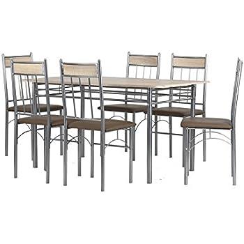 Cavadore Tischgruppe Lola / Tisch in Sonoma Eiche foliert / 6 Stühle ...