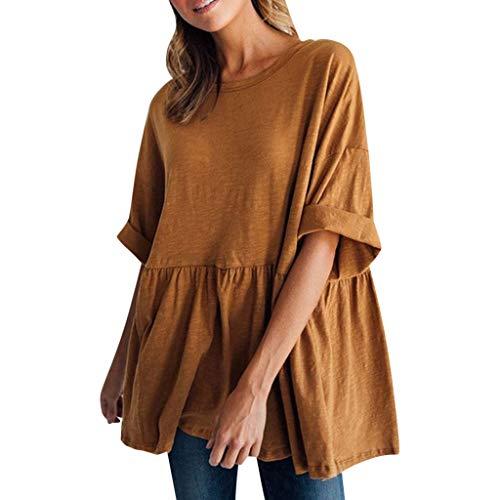 Verziert Scoop Neck Top (Satiny Damen Kurzarm Hemden Bluse Sommer Einfarbig Shirt Lose Tshirt Top Oktoberfest Herbst Kostüm Frauen Rundhals Lässige Hemd Oberteile T-Shirt)
