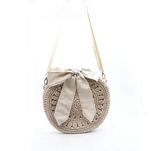 LVYONG Strohsack Kleine Tasche Weibliche Schulter Diagonale Handtasche Handtasche Mode Baumwolle Strandurlaub @ Beige Bogen -