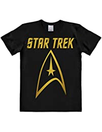Logoshirt Star Trek - USS Enterprise Logo Gold Short Sleeve T-Shirt for Men - Black - Licensed Original Design