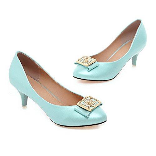 AllhqFashion Femme Rond à Talon Correct Tire Couleur Unie Chaussures Légeres Bleu