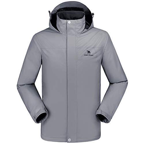 CAMEL CROWN wasserdichte Herrenjacke Mit Kapuze Windbreaker Windjacke Jacket Full Zip mit Winddicht Jacken für Outdoor Camping Bergsteigen Wander Full Zip Jacket
