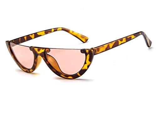 Frauen Weiblicher Halber Plastikrahmen Retro Sonnenbrille Cat Eye Fashion Eyewear (Leopard/Tee)