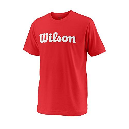Wilson Jungen/Mädchen Sport-Kurzarmshirt, Y Team Script Tech Tee, Polyester, Rot/Weiß, Größe: L, WRA770705 (Apparel T-shirt American Kinder)