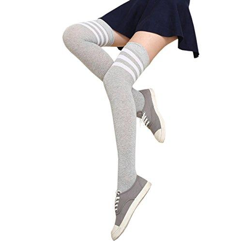 EZSTAX EZSTAX Damen Winter Warme Überknie Strümpfe Baumwollstrümpfe Retro Lange Socken Overknee Sportsocken mit drei Streifen