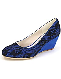 Qingchunhuangtang@ Puntilla Satin Wedge Heel Shoes Zapatos de Boda Banquetes Prom Chic Elegante Zapatos Zapatos...