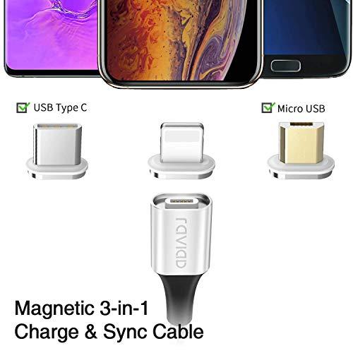 ZKAPOR Cable USB Magnético,  Multi Cable Magnetic de Carga y Datos Cargador iman con Adaptador 3 en 1 Micro USB Tipo C para Android Galaxy,  Xiaomi,  Huawei,  Moto,  Honor,  Kindle